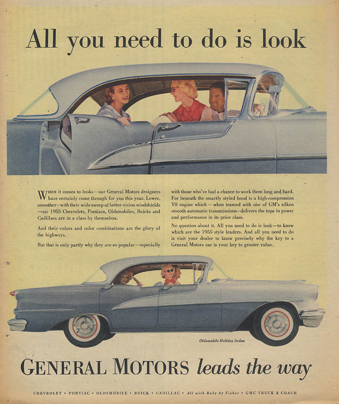 All you need to do is look - Oldsmobile Holiday Sedan Hardtop ad 1955