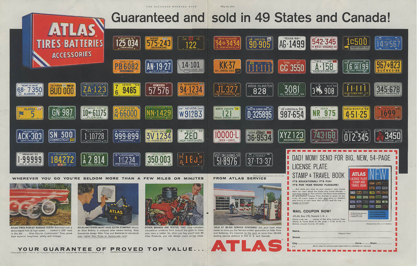 Guaranteed in 49 States & Canada Atlas Tires Battery License Plates ad 1959 SEP