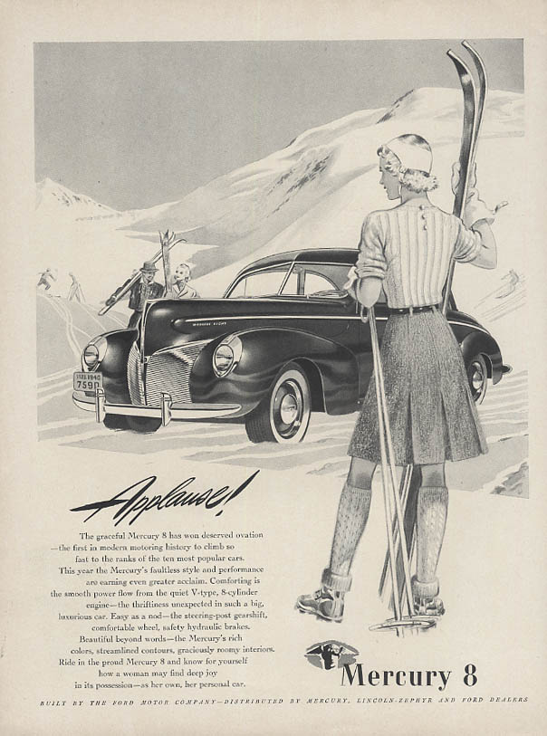 Applause! Mercury Coupe ad 1940 skiing woman
