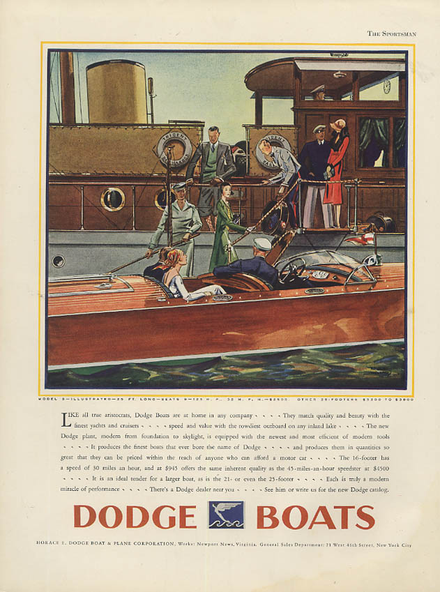 Endorsed by the high hills American Austin / Dodge 25-ft Speedboat ad 1930