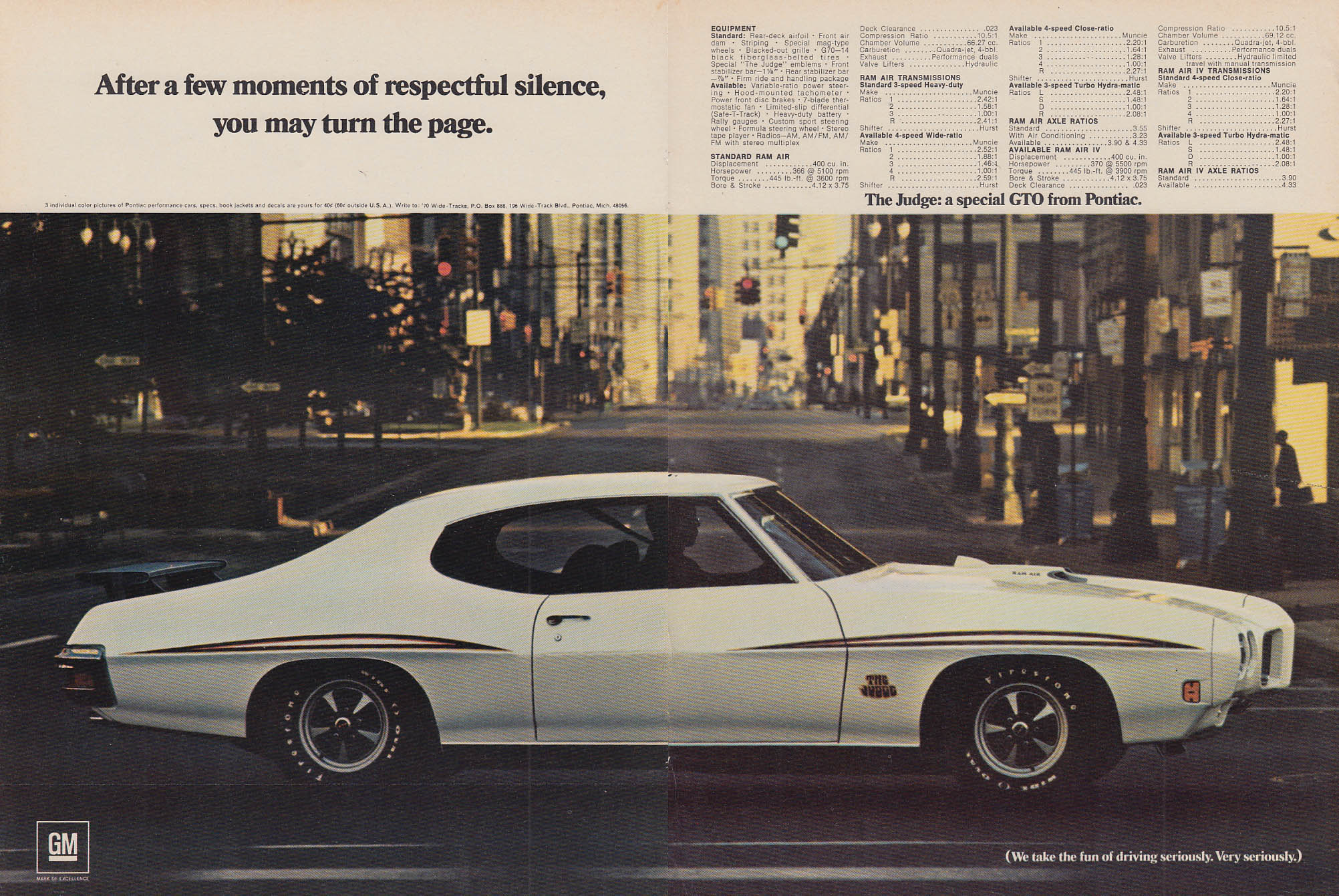 After respectful silence you may turn the page Pontiac GTO Judge ad 1970 v