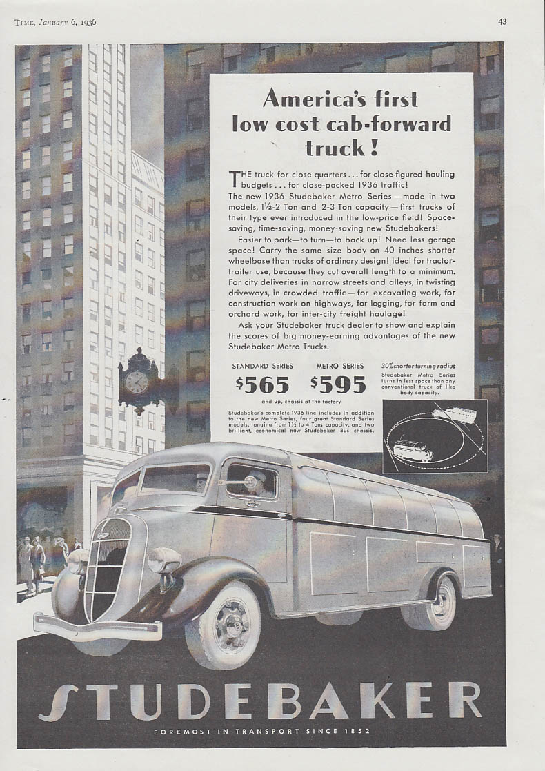 America's first low cost car-forward truck Studebaker Metro Series ad 1936 T