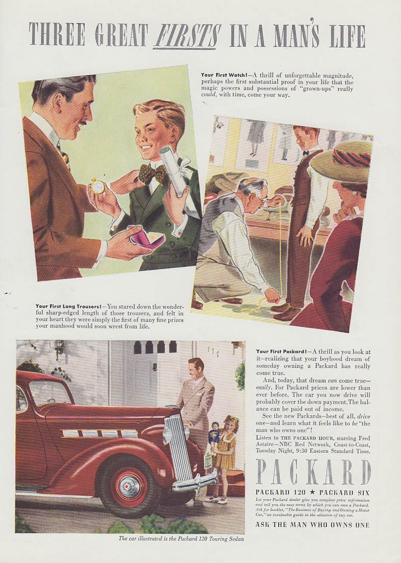 3 Great Firsts in a Man's Life - graduation long trousers & Packard ad 1937 T