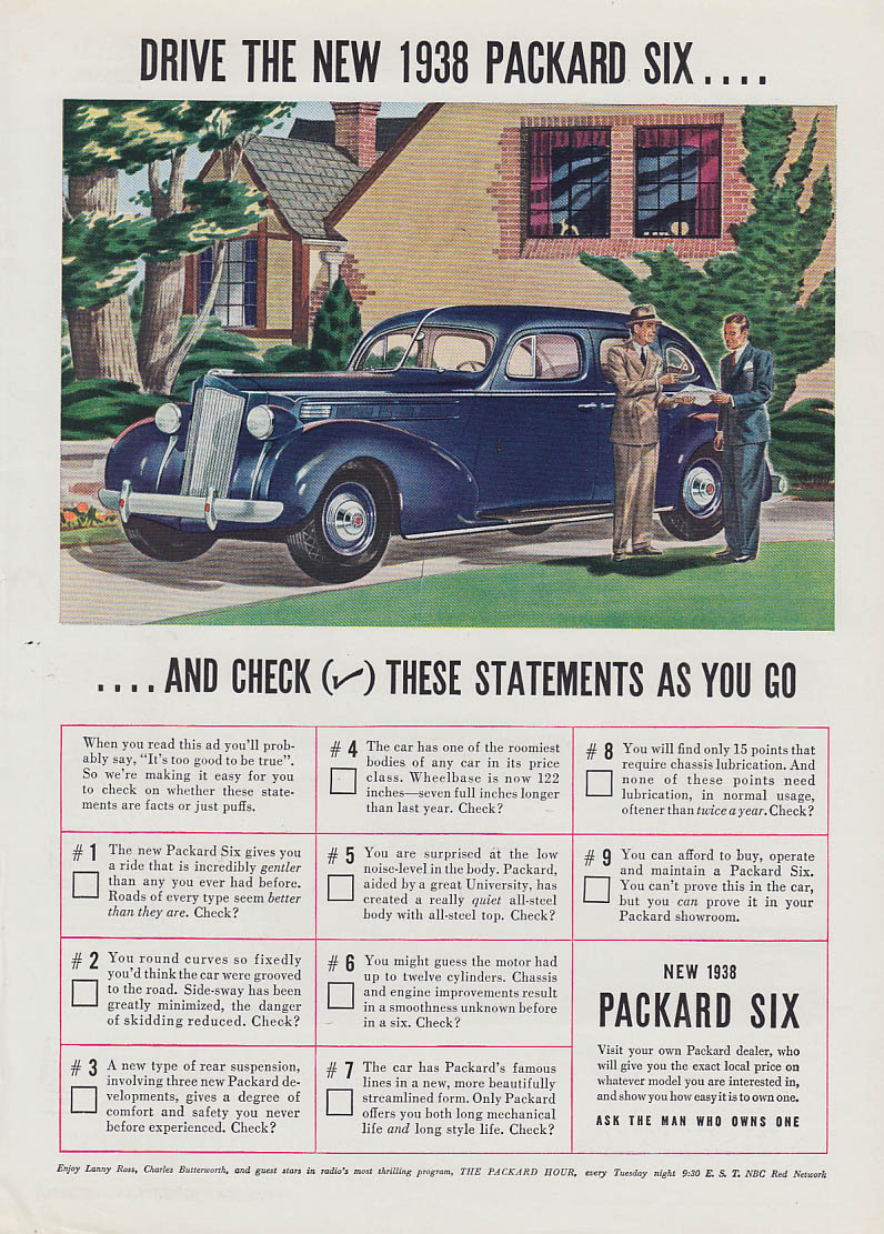 Drive the new Packard Six & check these statement as you go ad 1938 T