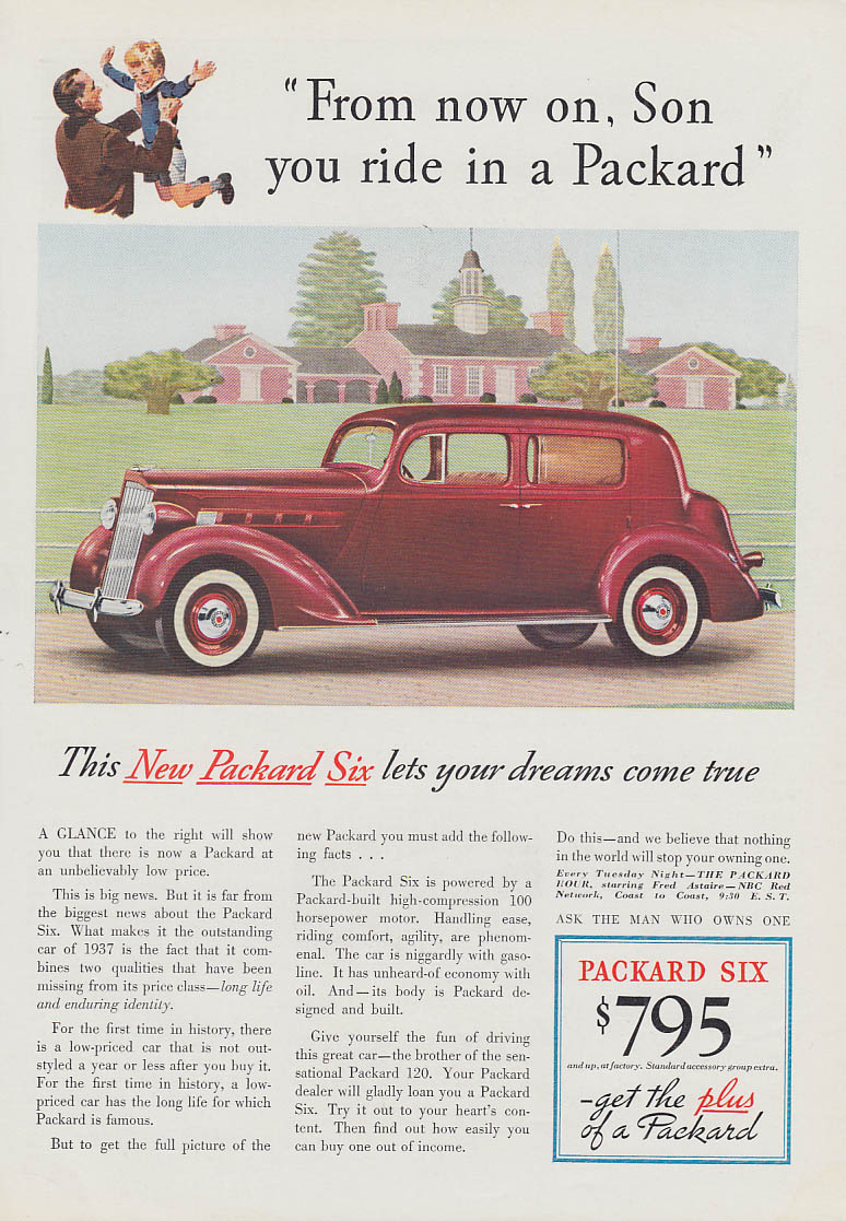 From now on, Son, you ride in a Packard Six ad 1937 T