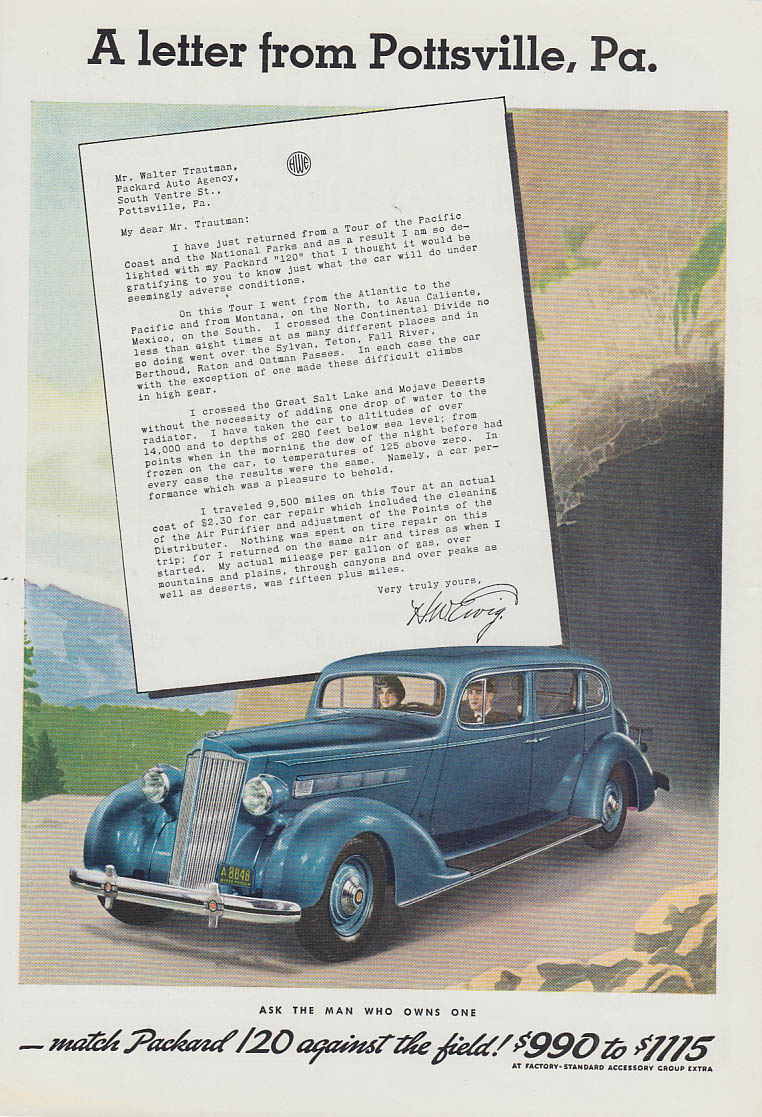 Image for A letter from Pottsville Pa. - Packard 120 ad 1936 T