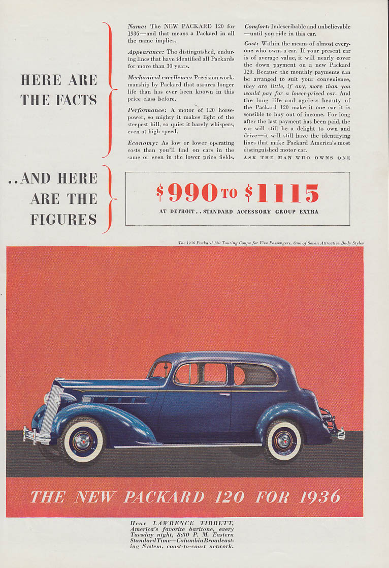Here are Facts & Here are the Figures Packard 120 ad 1936 T