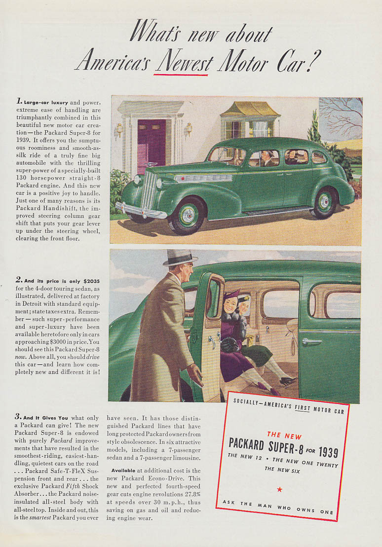 What's new about America's Newest Motor Car? Packard Super-8 ad 1939 T