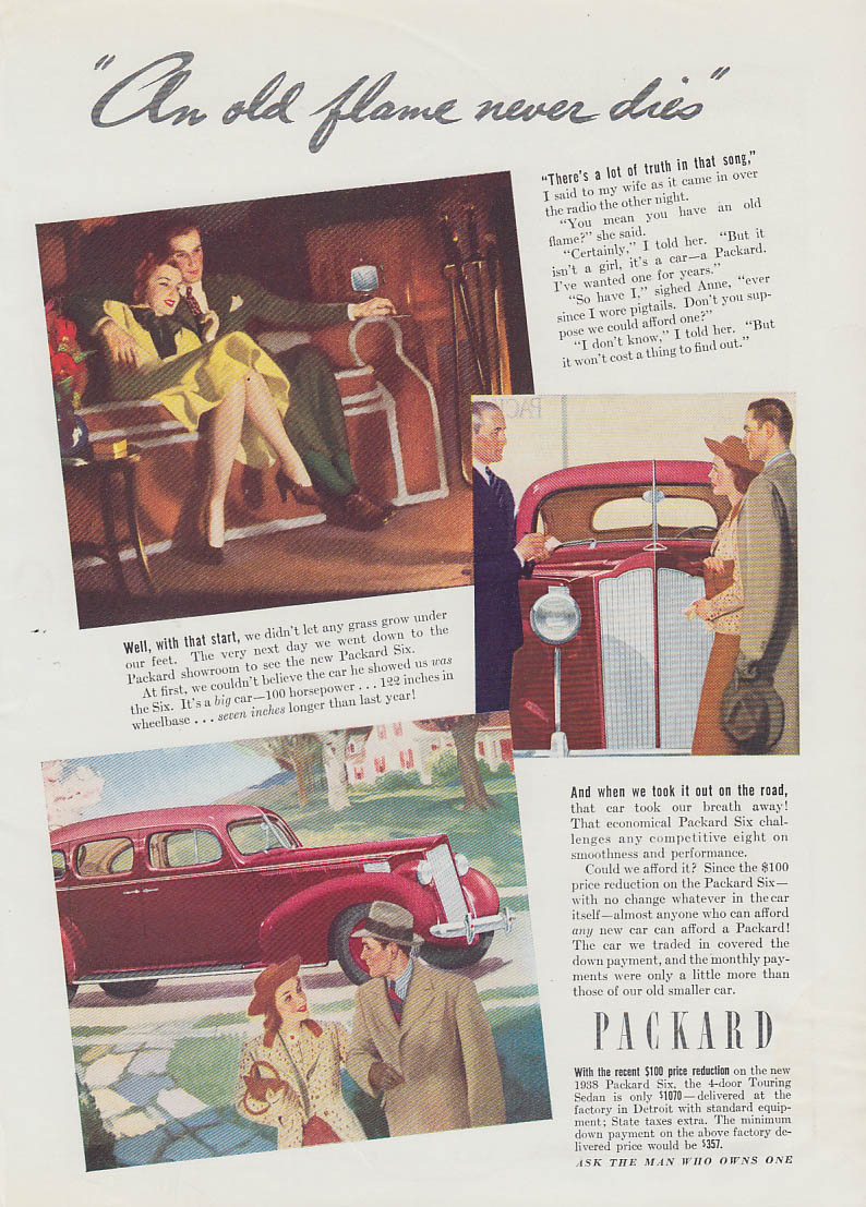 An old flame never dies Packard Six ad 1938 T