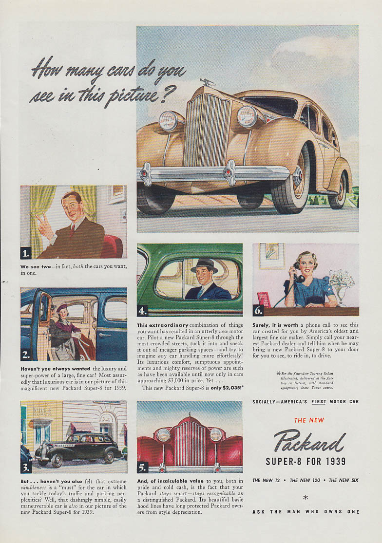 Image for How many cars do you see in this picture? Packard Super-8 ad 1939 T