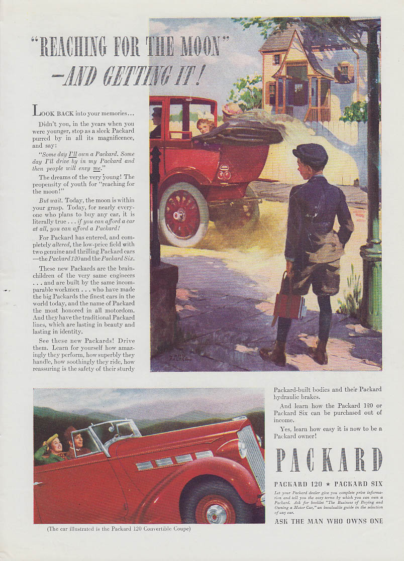 Reaching for the moon and getting it! Packard 120 Convertible Coupe ad 1937 T