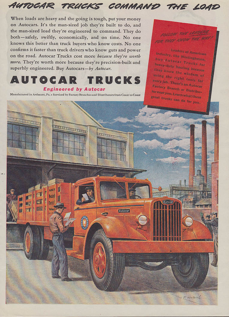 Command the Load - Autocar Stakeside ad 1945 T Westinghouse Electric