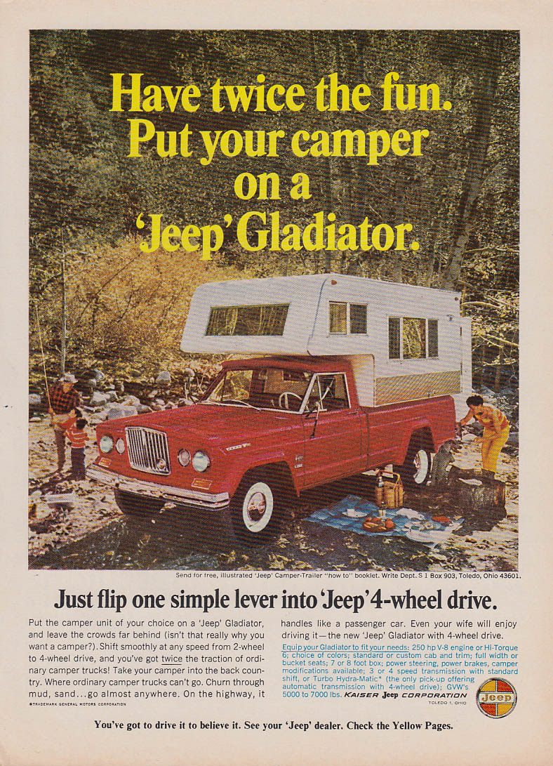 Image for Twice the fun - Your camper on a Jeep Gladiator ad 1966 Sunset