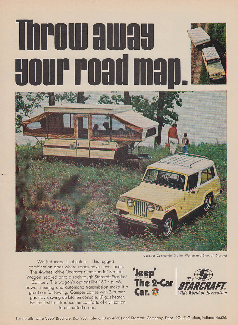 Image for Throw away your road map Jeepster Commando & Starcraft Camper ad 1970 OL