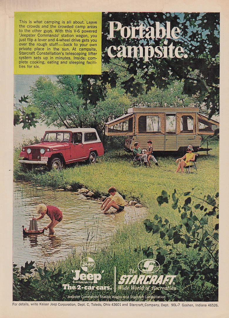 Image for Portable campsite. Jeepster Commando & Starcraft Camper ad 1969 OL