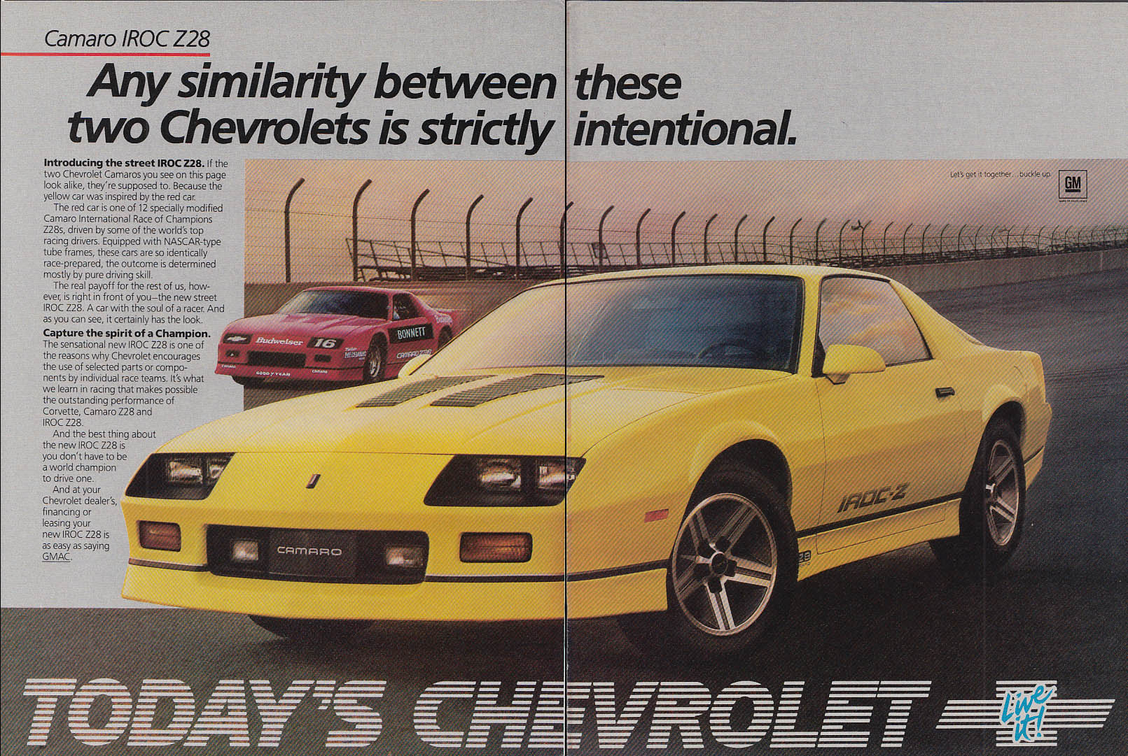 Any similarity between these two is intentional Chevrolet Camaro Z28 ad 1985 HR