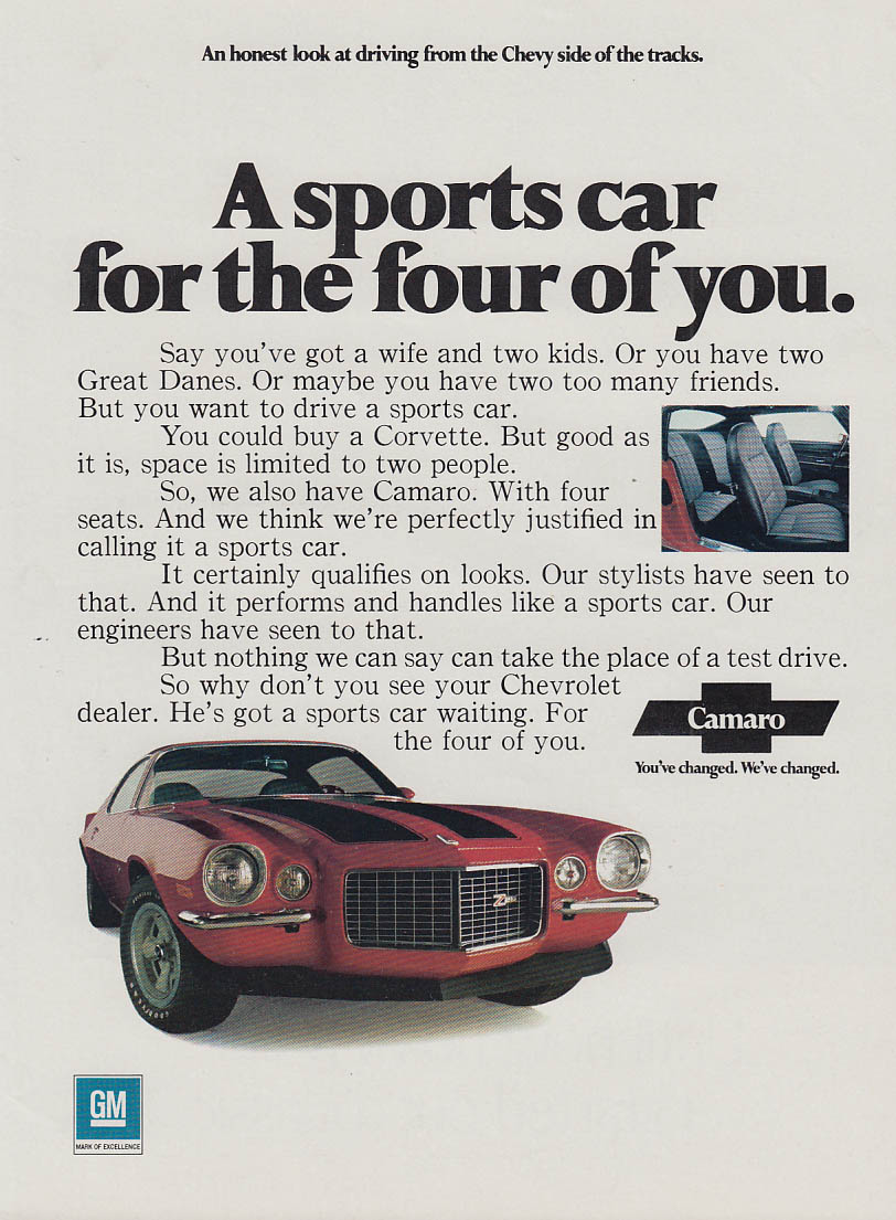 A sports car for the four of you Chevrolet Camaro Z28 ad 1971 CD