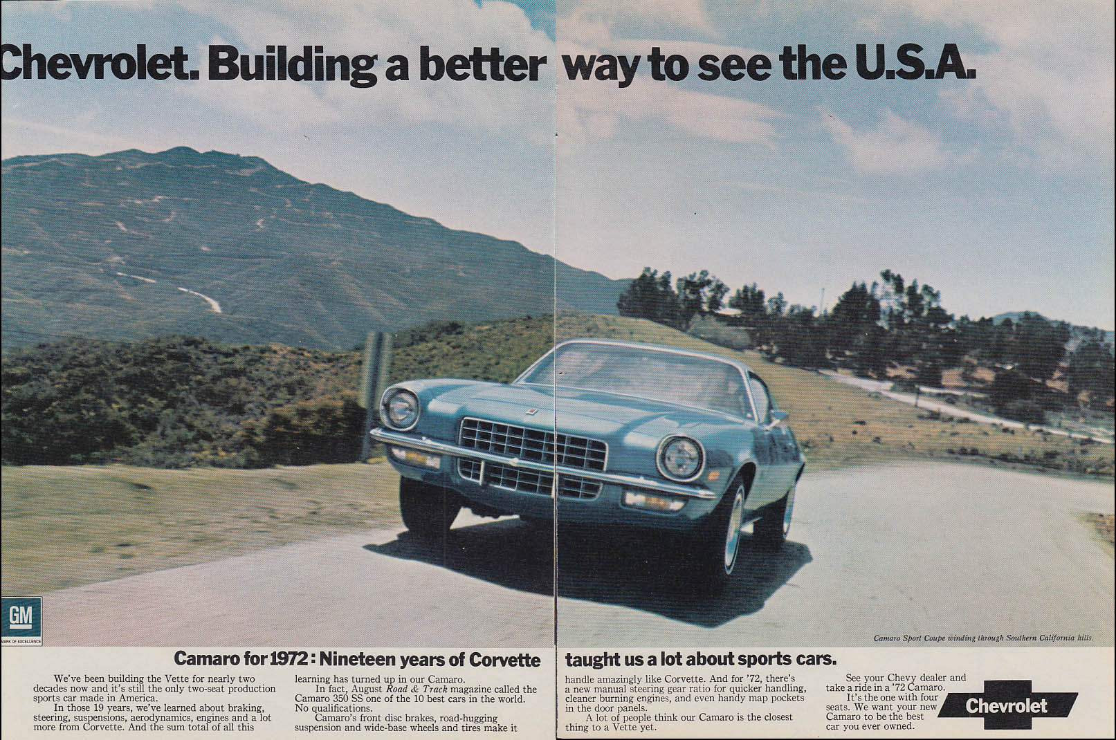 19 years of Corvette taught us a lot - Chevrolet Camaro ad 1972 HR