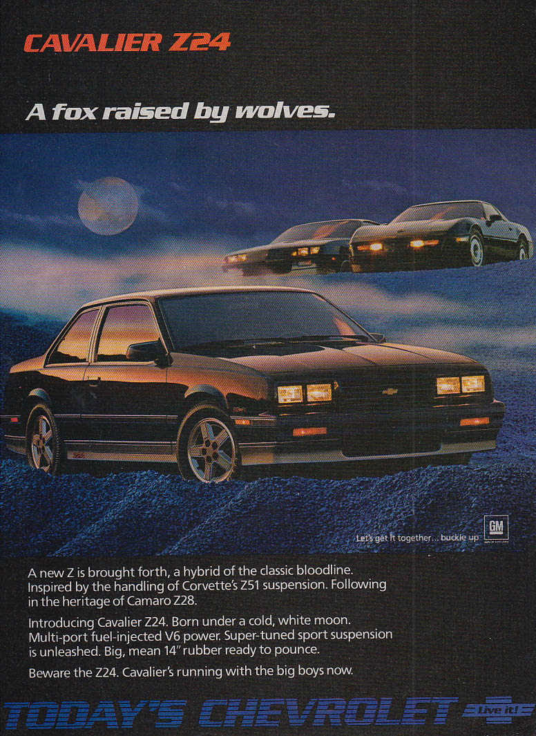 A fox raised by wolves Chevrolet Cavalier Z24 Camaro Z28 Corvette ad 1986 CD