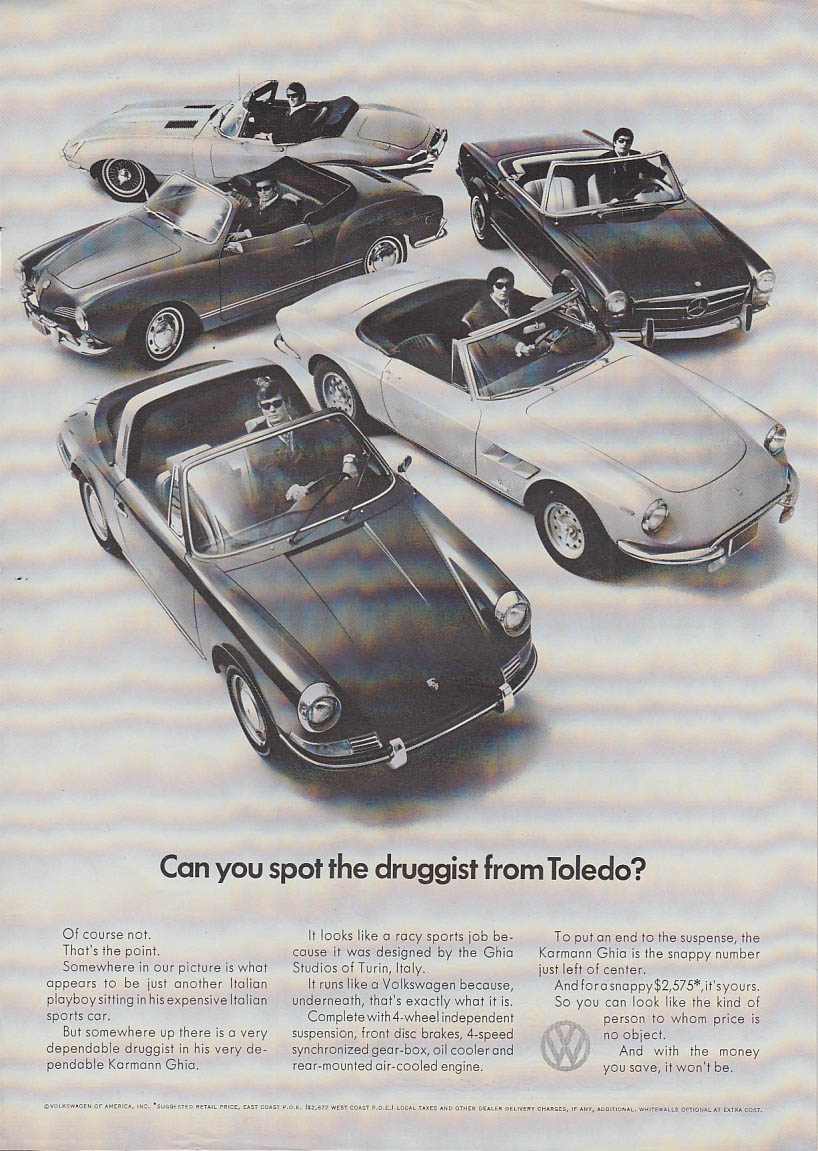 Can you spot the druggist from Toledo? Volkswagen Karmann Ghia ad 1969 v