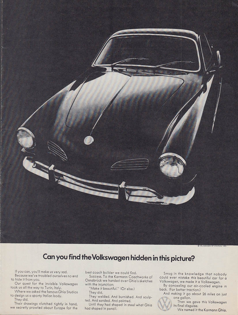 Can you find the Volkswagen hidden in this picture? Karmann Ghia ad 1972 v