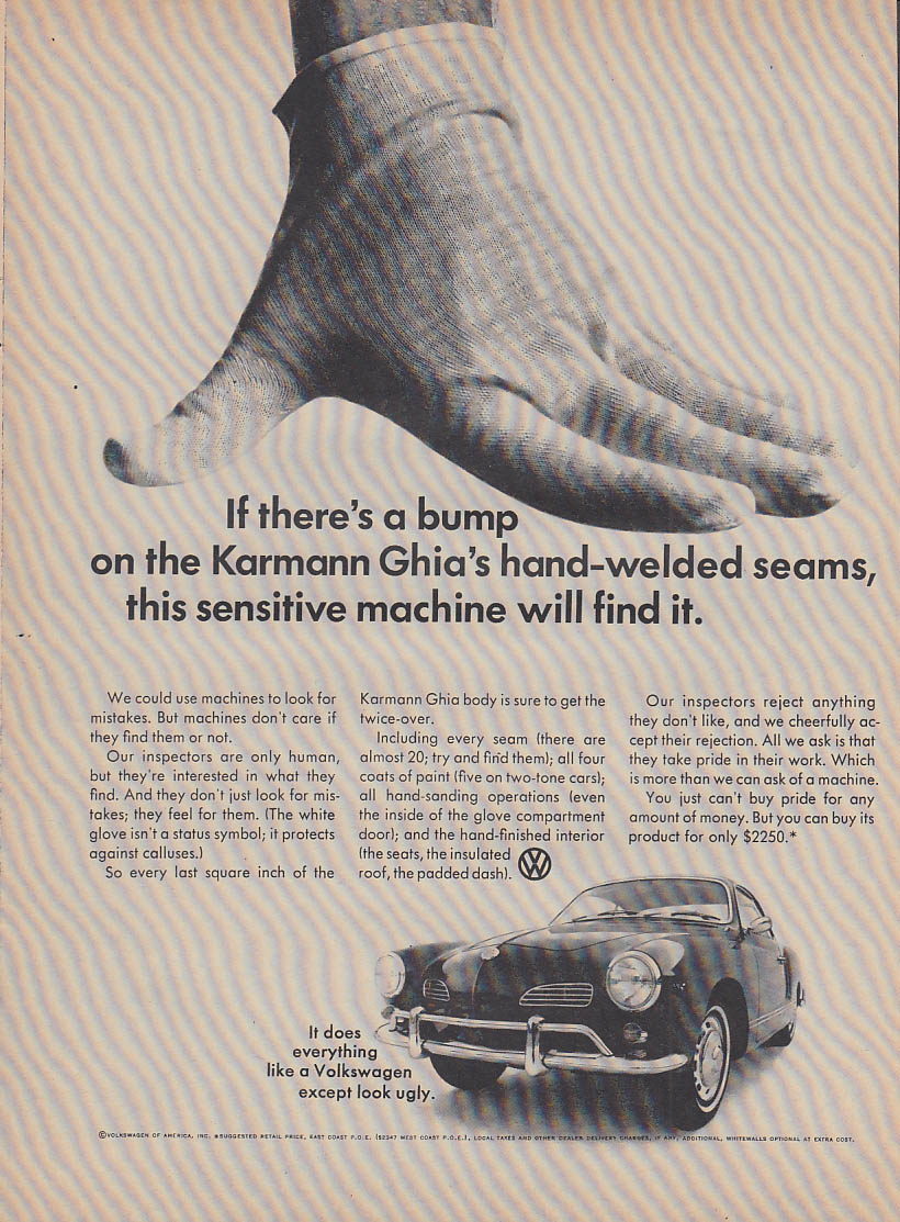 If there's a bump this sensitive machine will find it VW Karmann Ghia ad 1967 v