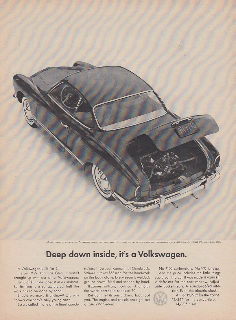 Deep down inside, it's a Volkswagen - Karmann Ghia ad 1964 1965