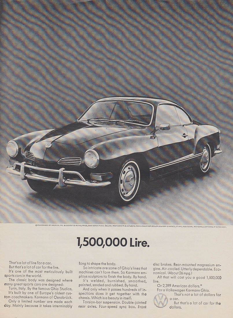 1,500,000 lire. Volkswagen Karmann Ghia ad 1970 SI