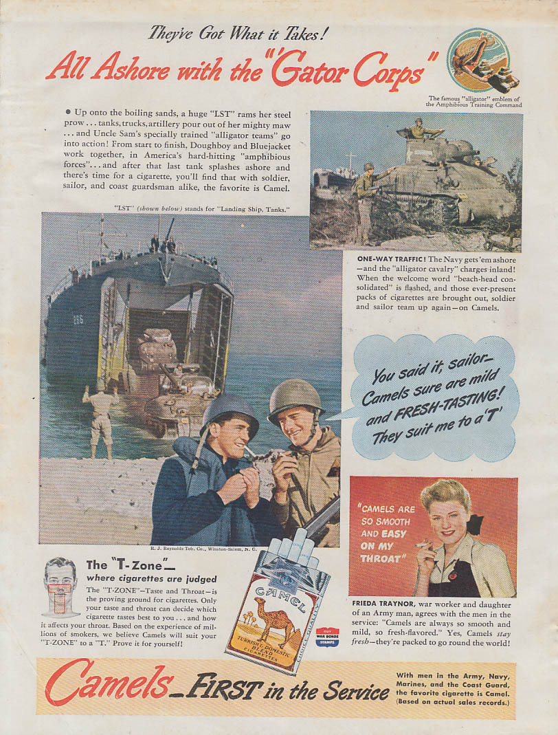 All Ashore with the Gator Corps US Navy LST for Camel Cigarettes ad 1944 Am