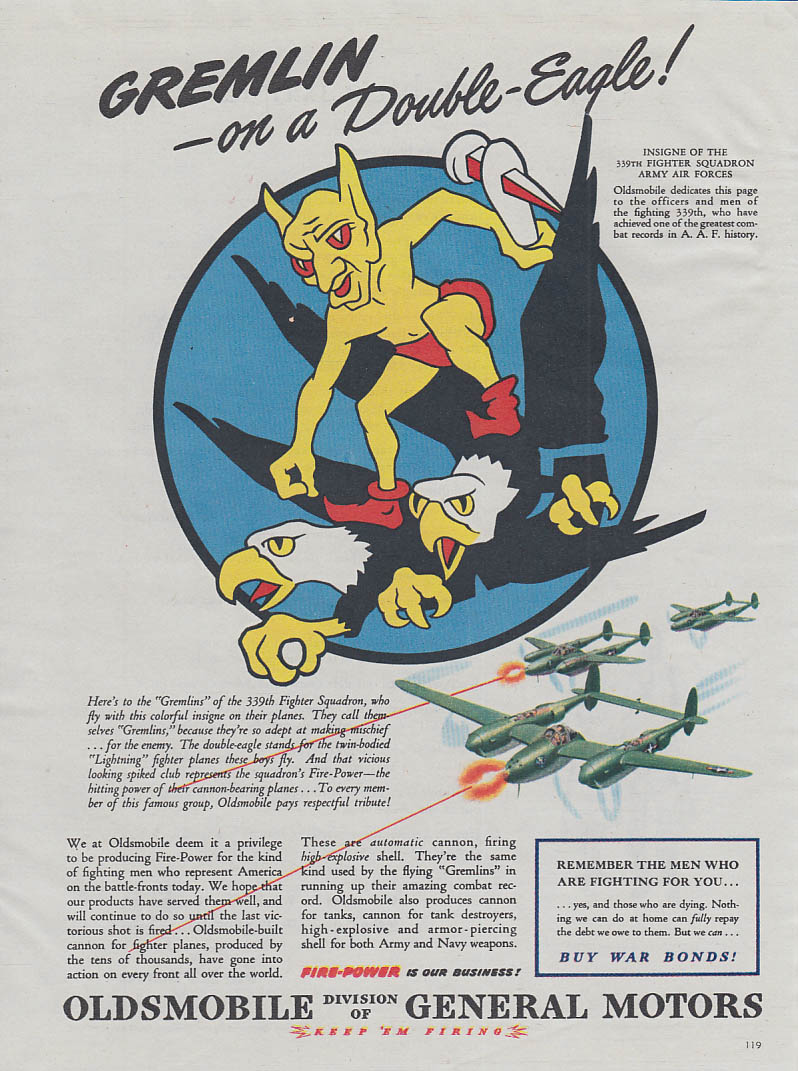 Gremlin on a Double-Eagle 338th Fighter Squadron P-38 Oldsmobile ad 1944 Am