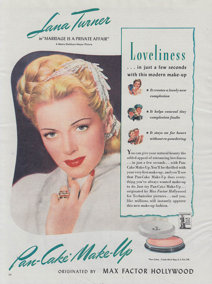 Lana Turner for Max Factor Pan-Cake Make-Up ad 1944 American