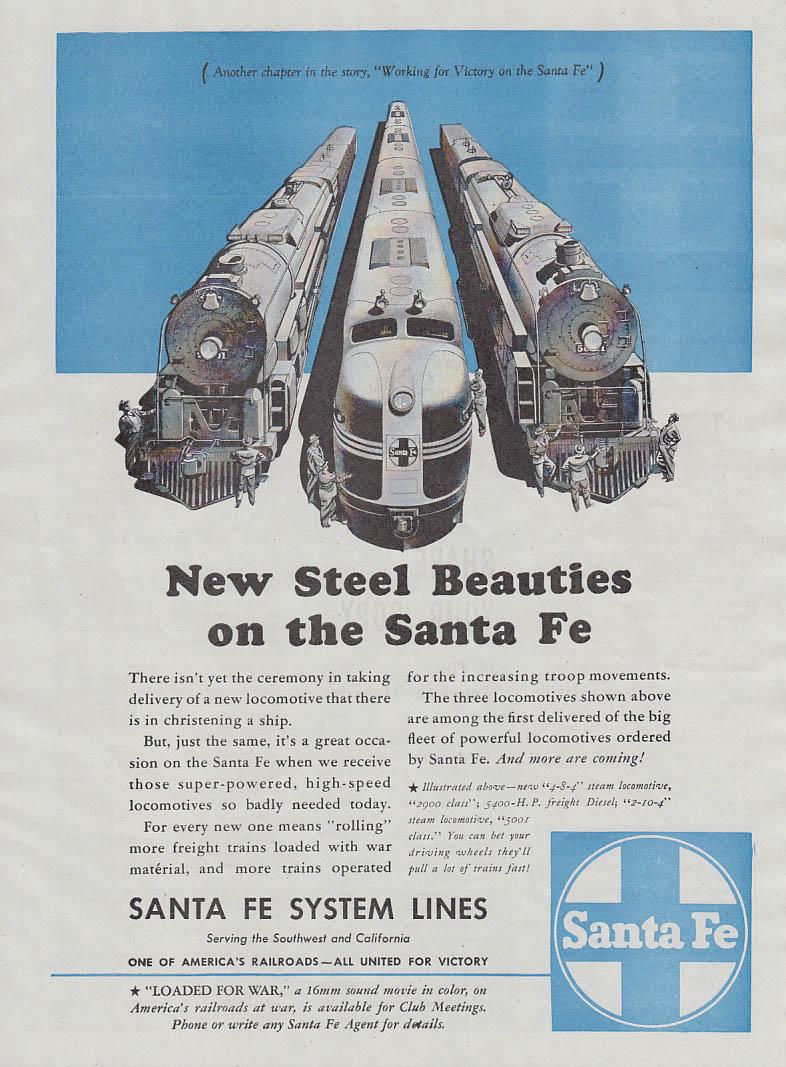 New Steel Beauties on the Santa Fe RR ad 1944 locomotives Am