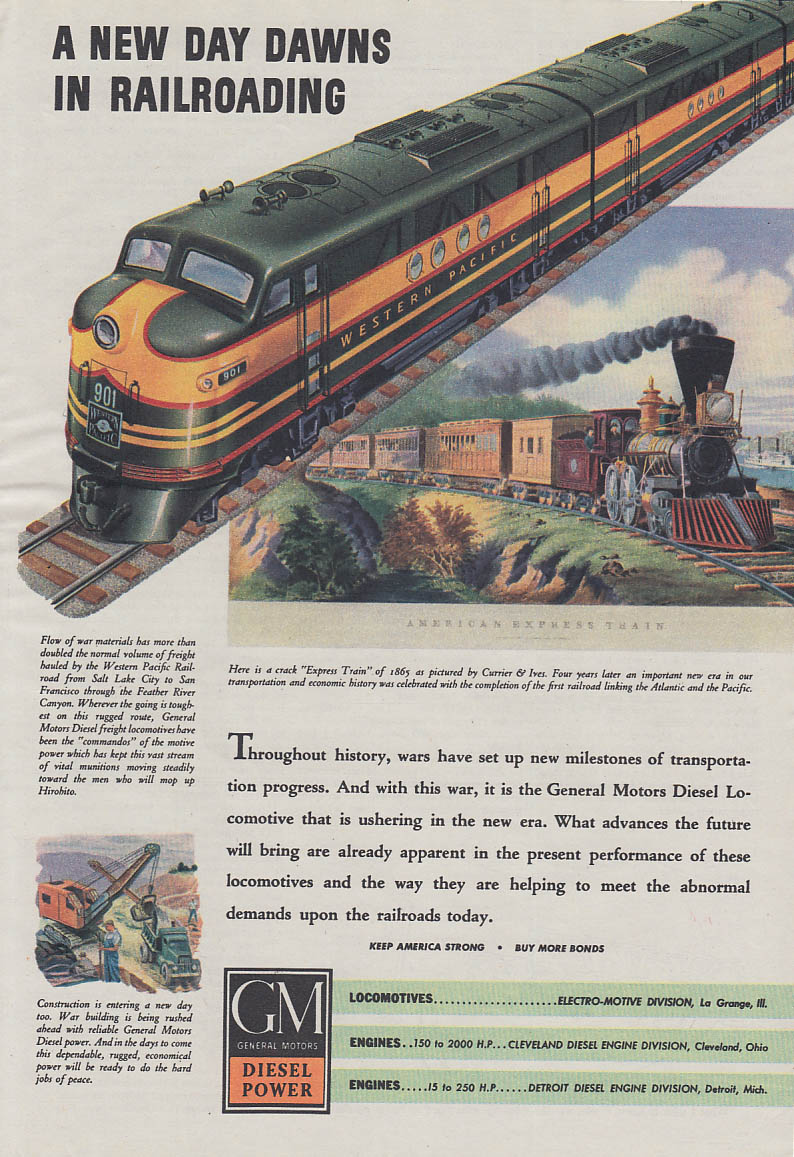 A New Day Dawns Western Pacific GM Diesel Locomotive ad 1943 Am