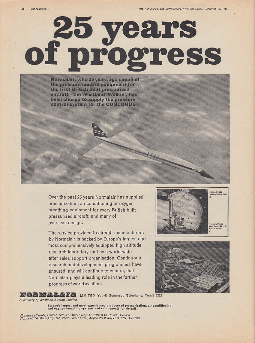 25 years of progress Normalair for BOAC Concorde ad 1966