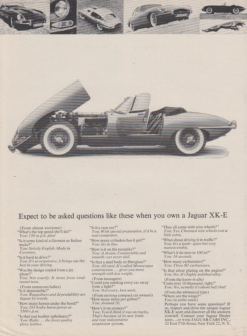 Expect to be asked these questions when you own a Jaguar XK-E ad 1963 RT