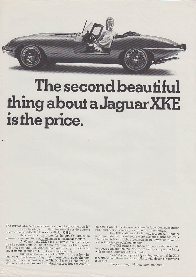 The second most beautiful thing about Jaguar XK-E is the price ad 1967 NY