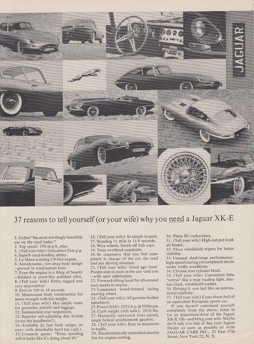 37 reasons to tell yourself or your wife why you need a Jaguar XK-E ad 1963 RT