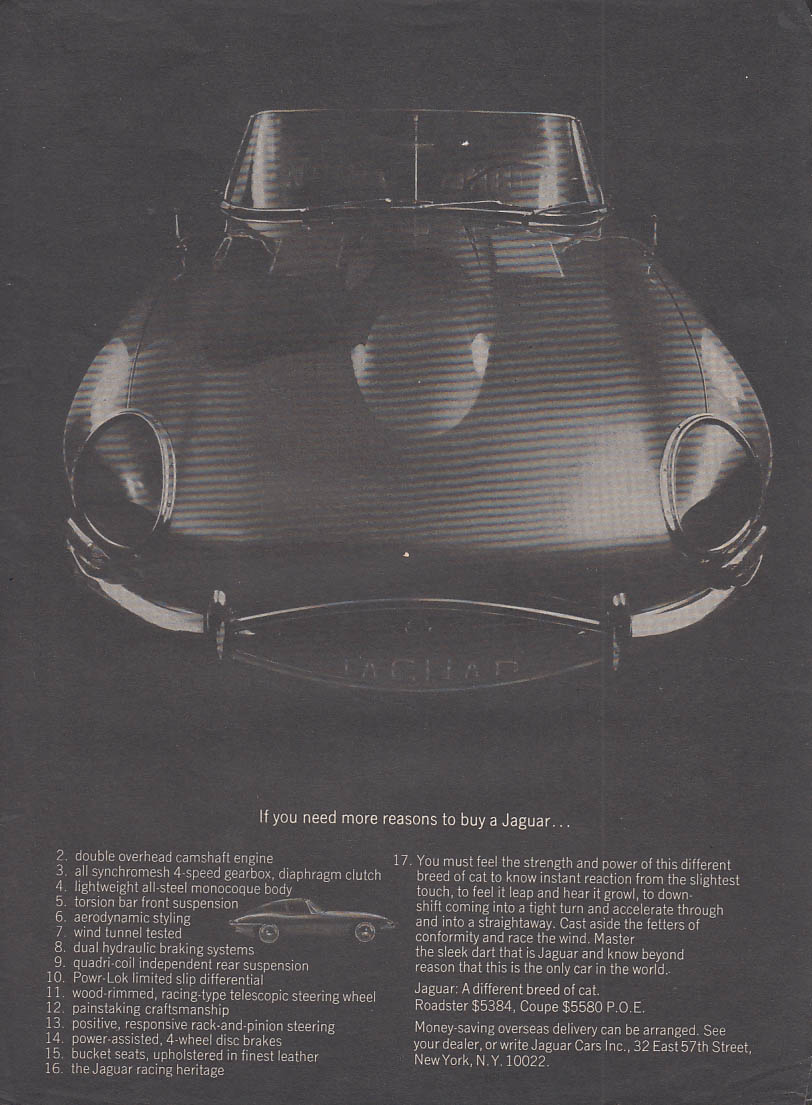 If you need more reasons to buy a Jaguar XK-E ad 1966 SI