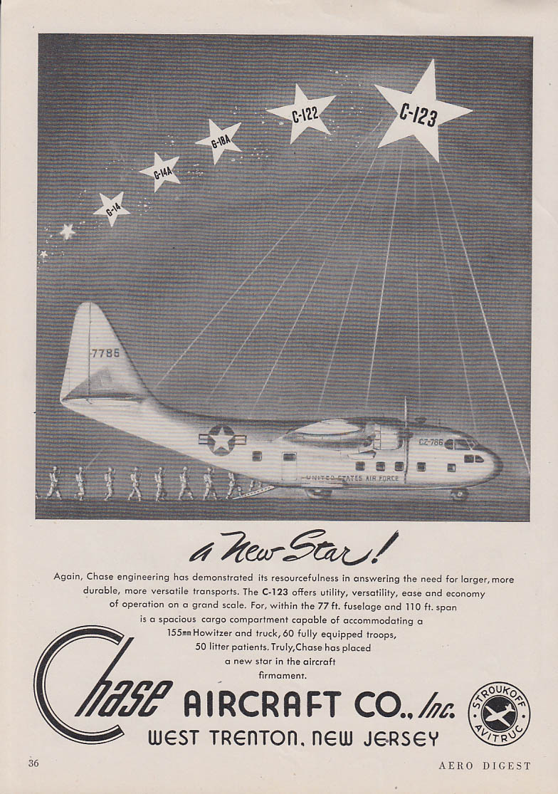 A New Star - Chase C-123 USAF Transport ad 1949 AeD