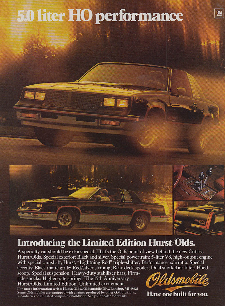 5.0 Liter HO Performance - Oldsmobile Limited Edition Hurst/Olds ad 1983 MT