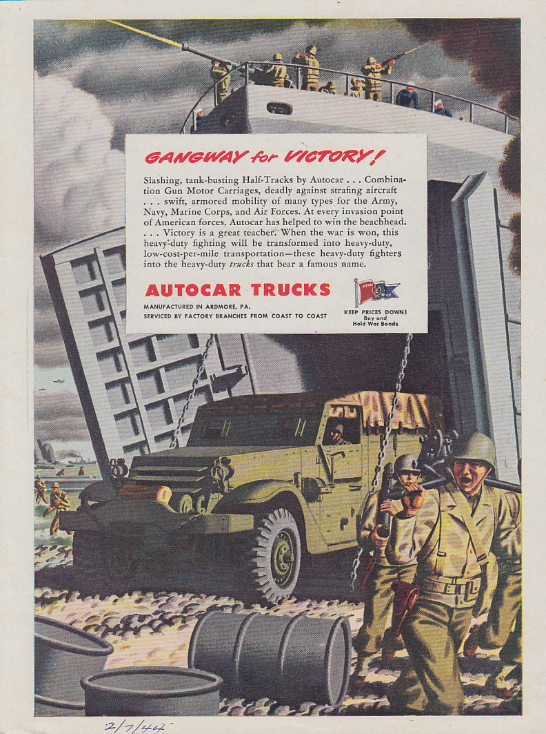 Gangway for Victory! Autocar Half-Tracks from LST ad 1944 T
