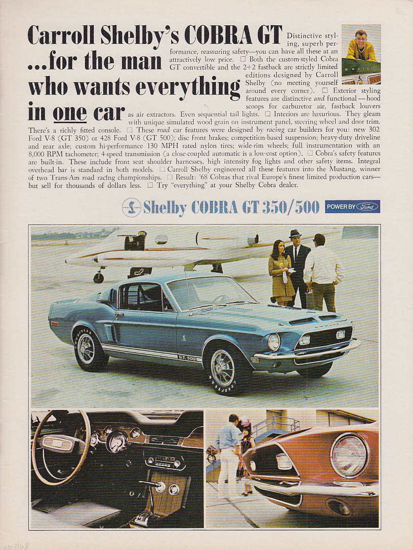 Announcing Dodge Coronet Super Bee / Shelby Cobra GT 500  ad 1968