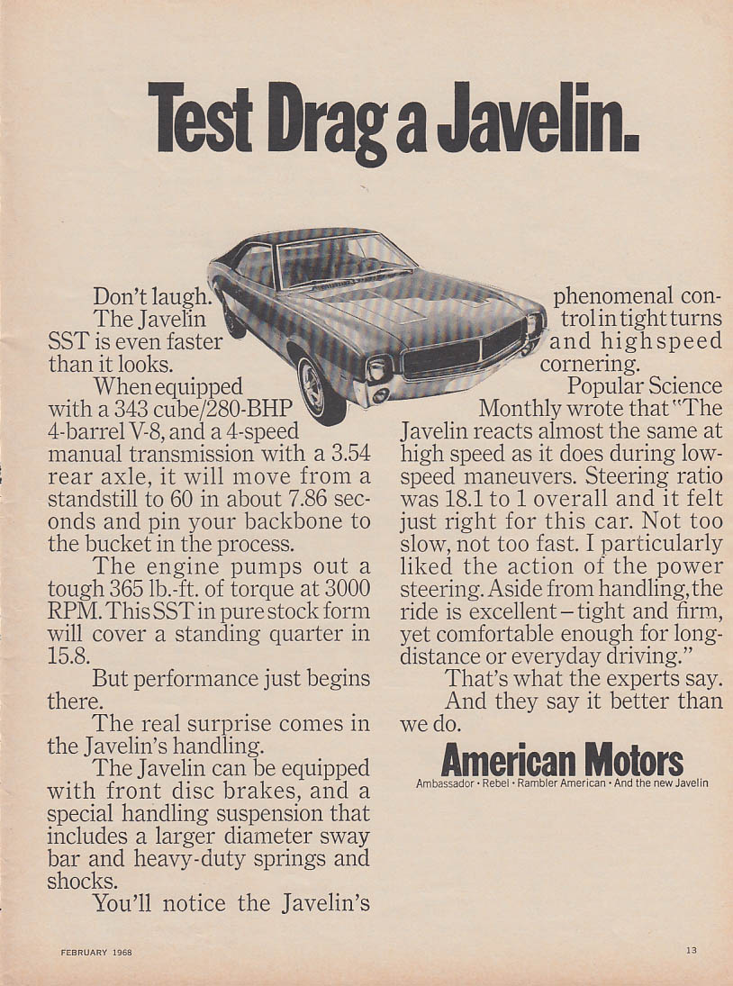 Image for Test drag a Javelin AMC ad 1968 various magazines
