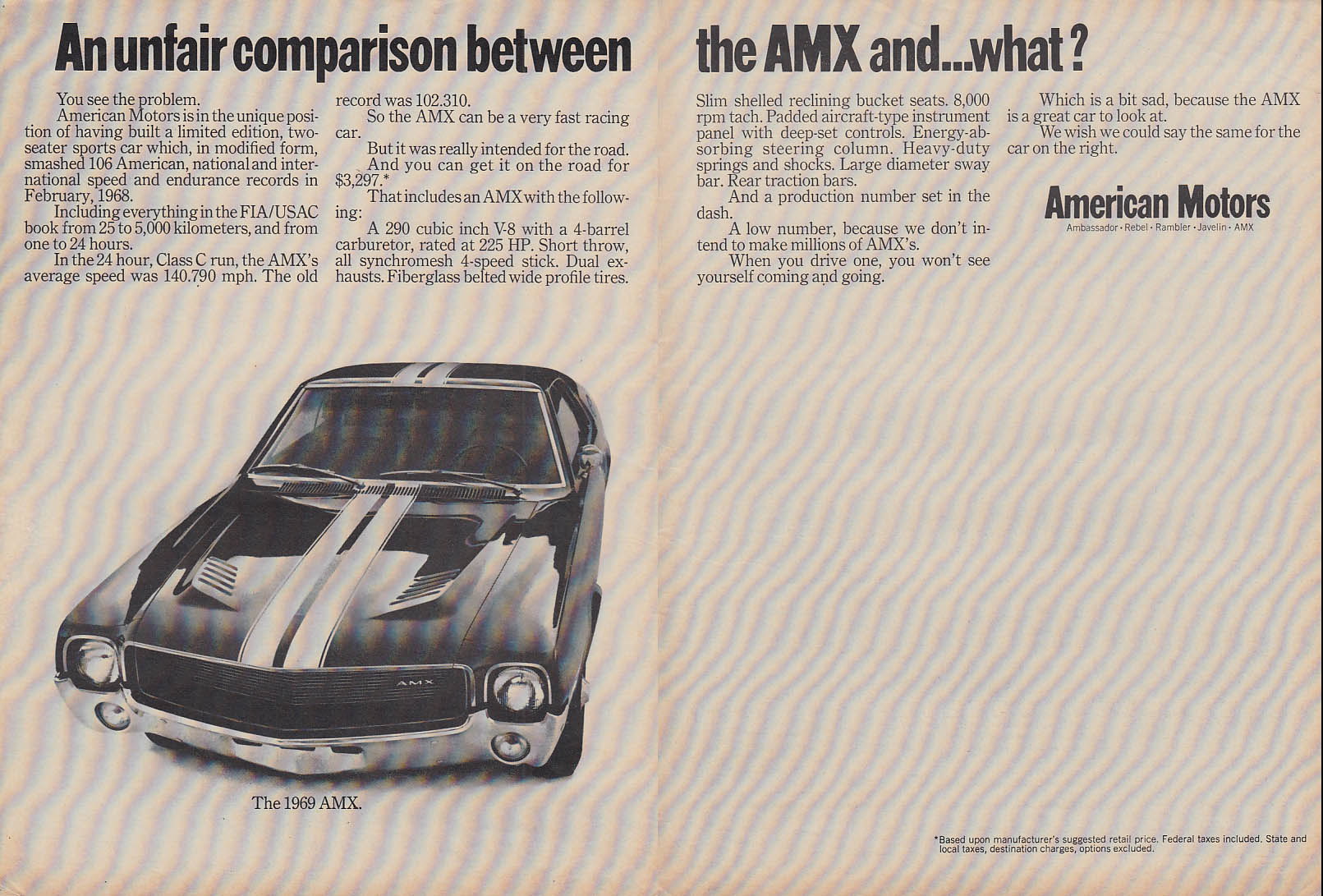 An unfair comparison between the AMX and what? AMC ad 1969 C&D