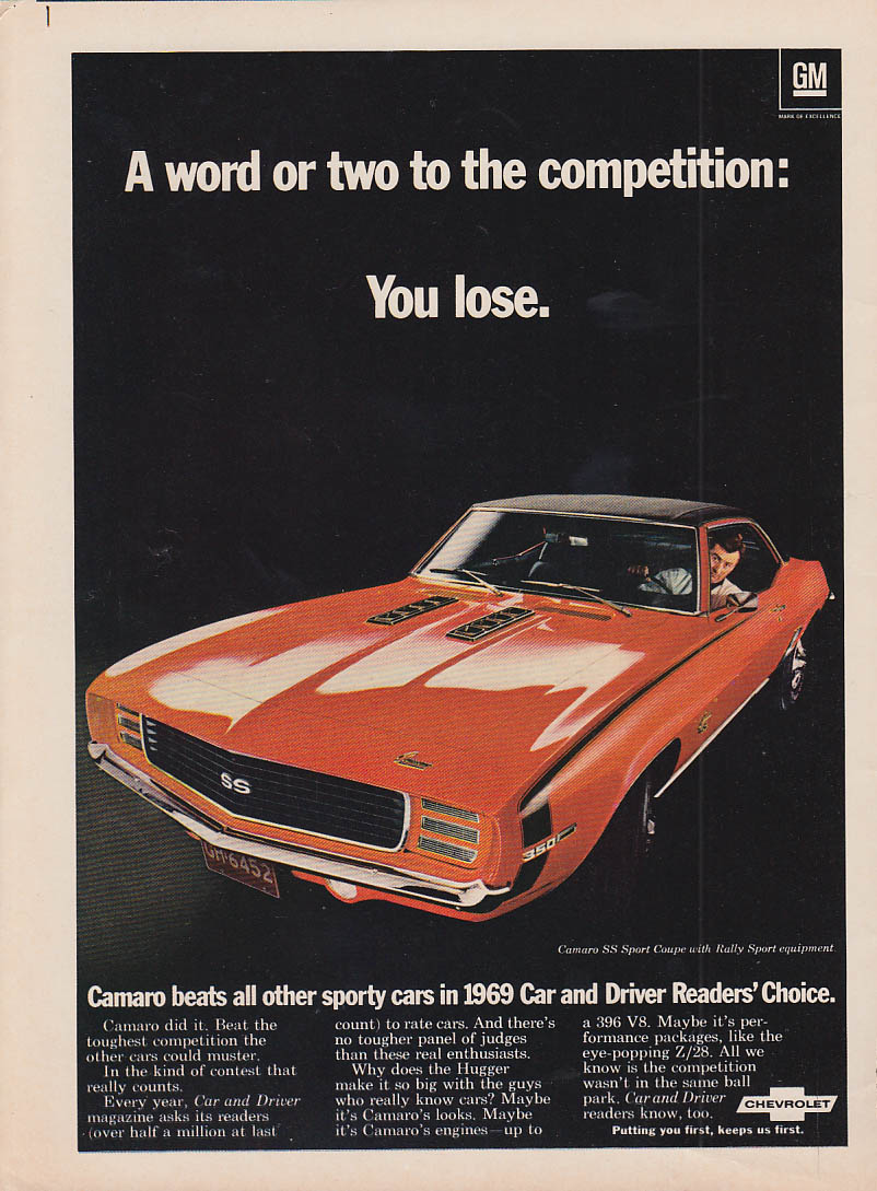 A word or two for the competition: You lose Camaro SS 350 ad 1969 C&D
