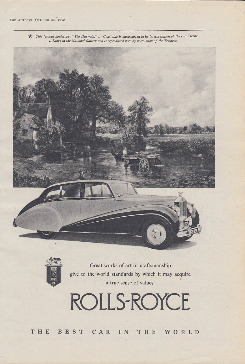 For Town or Country - Bentley 4/25 litre Mark VI / Rolls-Royce ad 1950