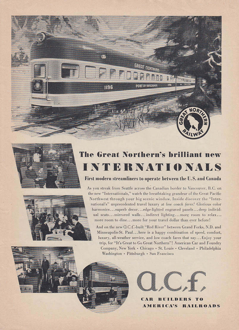 Great Northern new Internationals built by American Car & Foundry ACF ad 1950