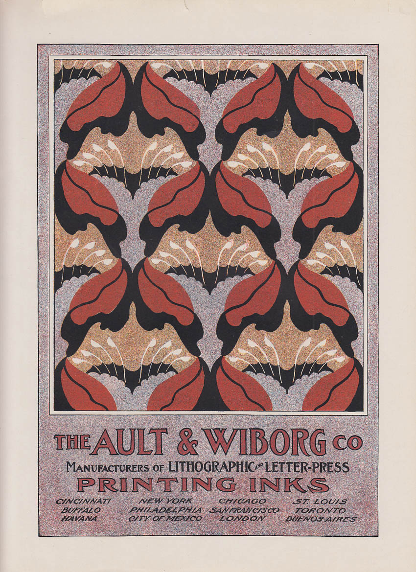 Ault & Wiborg Printing Inks art nouveau #1 ad insert ca 1910