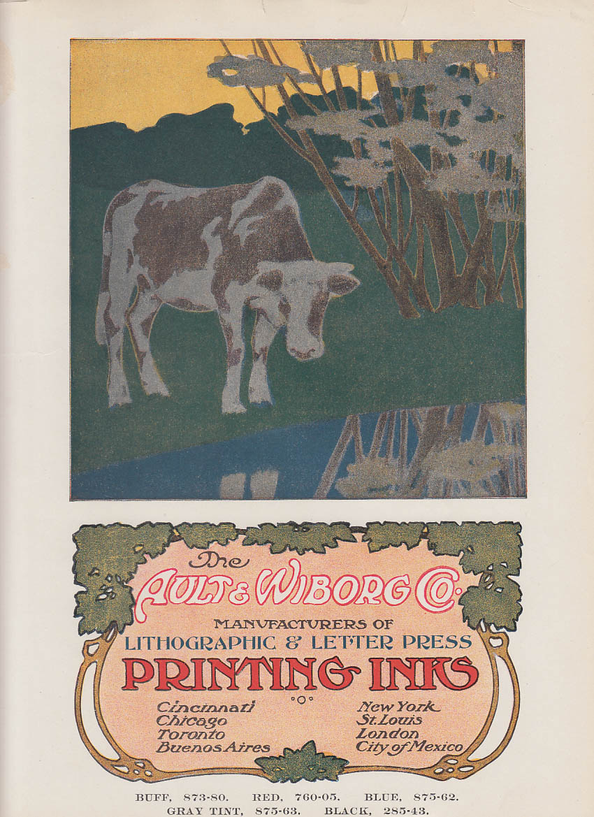 Ault & Wiborg Printing Inks art nouveau #2 ad insert ca 1910 cow motif