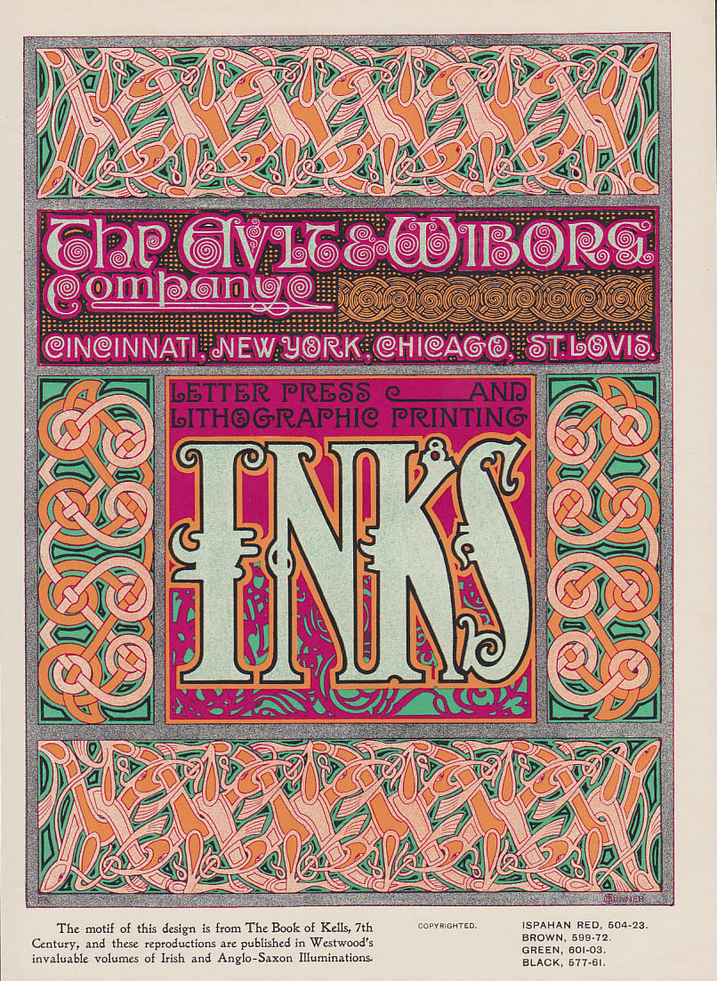 Ault & Wiborg Printing Inks Book of Kells motif ad insert 1899